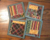 Hand Crafted 2 sided Fall /  Autumn Colored w/ Green Trim Drink Coasters set of 4
