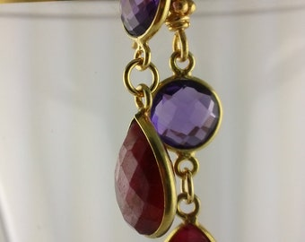 Faceted Raw Ruby and Amethyst Earrings