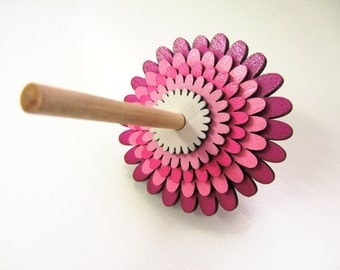 Eco friendly Pink flower layered dreidel (spinning top) for Hanukkah