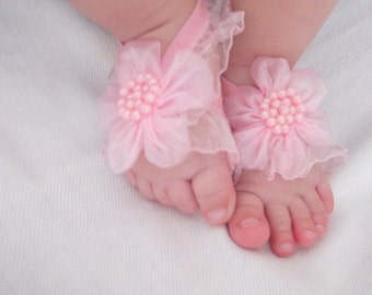 Pink Flower Baby Barefoot Sandals - Baby Sandals - Barefoot Sandals-Handmade Baby Sandals with Cute Yoyo
