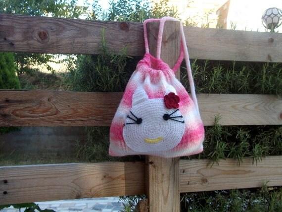 Kitty Backbag for children - Sweet Kitty Knit Bag-Kids Backpack