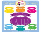 Digital Labels Rainbow Clipart Stitched Banner Embellishments Frames Scrapbooking Elements DIY images Personal & Commercial Use pf00030-13