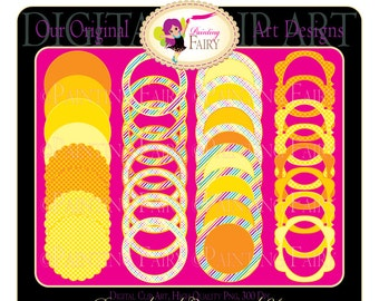 32 Digital elements Rainbow labels Scalloped clipart frames Fun scrapbooking embellishments DIY images Personal & Commercial Use pf00030-4