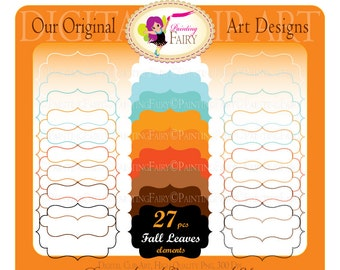 Clipart Autumn Leaves Fall elements Fancy shapes Frames Labels Girl Boy Frame Scrapbooking Label clipart russet leaves colors pf00050-3
