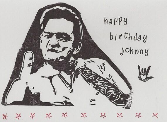 Johnny Cash Happy Birthday handstamped greeting card