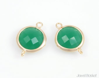 2pcs - Green Color and Matted Gold Framed Round Connector / green / 16k gold plating / gemstone / stone / 11x16mm / SGRMG002-C
