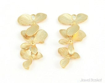 2pcs - 3 Orchid Flower Connector / 16k gold plated / dangle / Connector / Pendant / Necklace / Jewelry / Brass / 16x34mm / BMG001-C