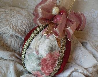 Peach Floral Red Velvet Organza Ribbon 4-inch Egg Christmas Ornament