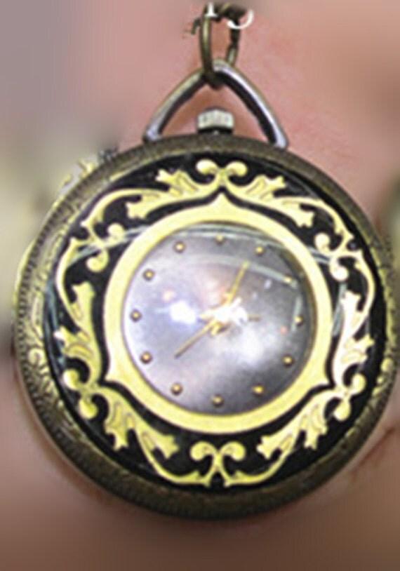 1Pcs 34mm New Bronze with black  color pocket watch charms pendant  SZ099
