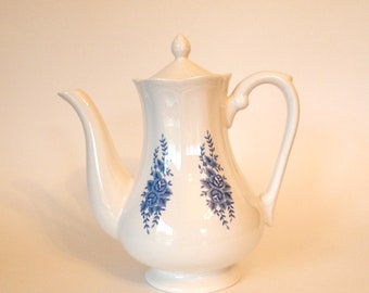 Vintage Teapot with Blue Flowers | Ironstone Tea Pot | Mayhill Federalist Ironstone |  Circa 1960 Mid Century | Sears Roebuck & Co.