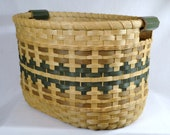 Laundry Basket, Toy Basket, or Quilt Basket Hand Woven in Greens and Browns