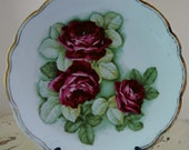 Antique Porcelain Plate, Handpainted and Numbered, Germany, Roses with Gold Edging, Chic.