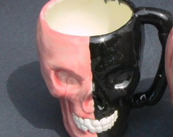SKULL coffee or candy MUG, Halloween, Dia de los Muertos, ceramic planter, decor, or great Gift. GOTH. Orange black