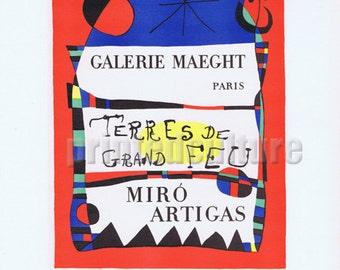 Joan MIRO Terres De Grand Feu Galerie Maeght 1955 - Lithograph poster by Mourlot - Paris.