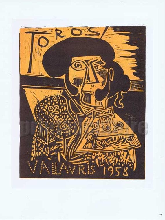 Pablo PICASSO TOROS 1958 - Lithograph poster by Mourlot - Paris.