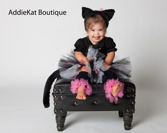 Black Kitty Cat Halloween Costume - Boutique Tutu Outfit - Complete with Ears and Tail