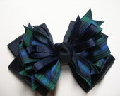 Large BLACKWATCH Plaid Christmas School Uniform Hair Bow Toddler to Big Girl Boutique Navy