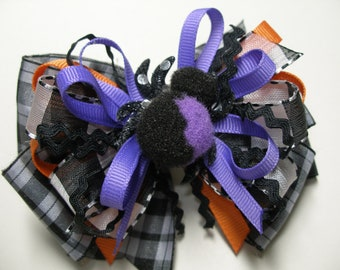 HALLOWEEN Sassy Spider OOAK Hair Bow Orange Black Unique Boutique Toddler Girl