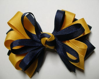 Navy Blue Hair Bow Yellow Gold Back to School Boutique You Pick Color
