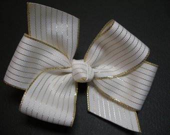 Gold and White Stripe Hair Bow Simple Traditional Basic Classic Style Toddler Girl