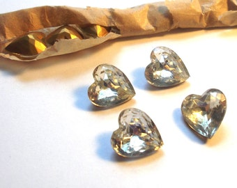 Large Vintage Crystal Heart Clear Glass Rhinestone Foil Back