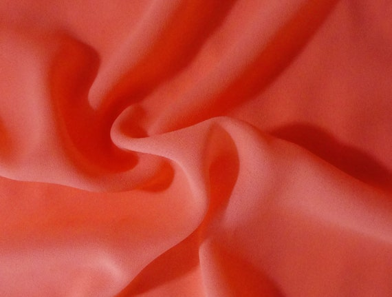 Peachy orange double georgette fabric, by the yard