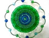 "Recycled Glass Flower Sun Catcher Garden Art, Garden Decor - Made of Glass Plates, ""Clover"" Emerald Green Flower"