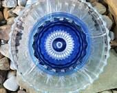 "Recycled Glass Flower Sun Catcher Garden Art, Garden Decor - Made of Glass Plates, ""Ashley"" Multi Blue Flower"