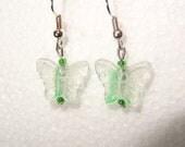 Beautiful Handmade Green glass Butterfly Lampwork dangle earrings