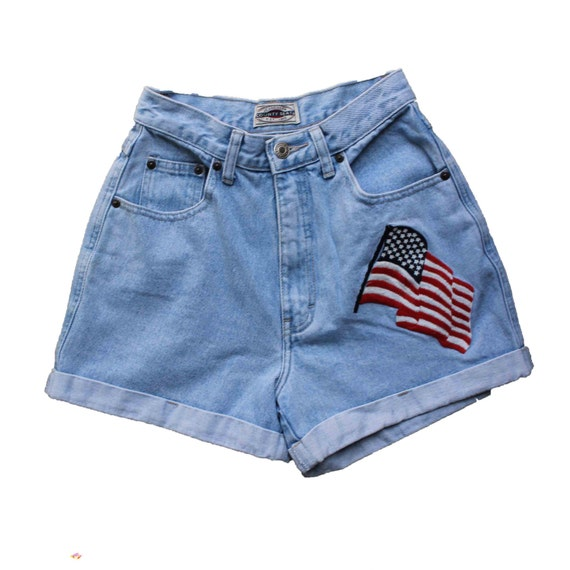 JULY 4th  90s American Flag High Waisted Cuff Shorts Waist SMALL Soft Grunge