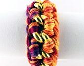 braided curb link bracelet woven curb chain bracelet purple orange magenta yellow