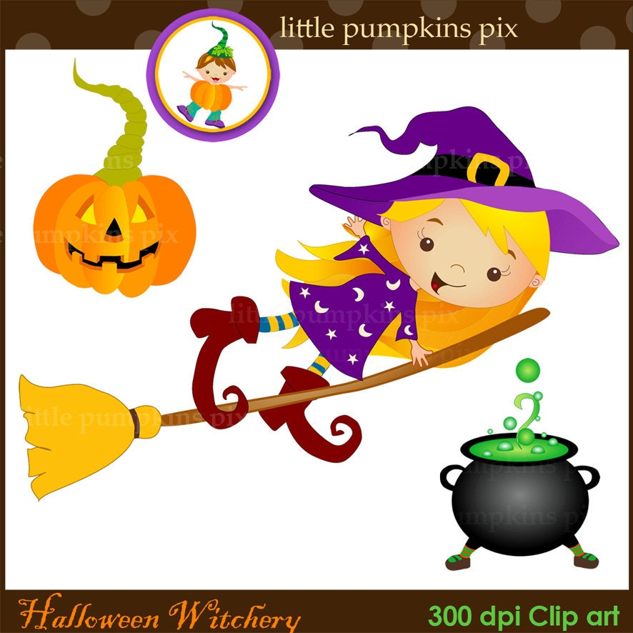 Halloween Clipart Funny Halloween Graphics Cute Witch