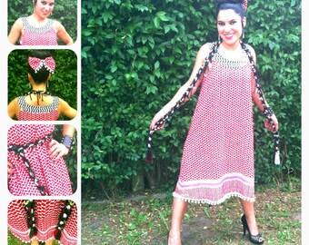 Dress 60's Kuffieh Style Keffiyeh Syria Palestine / dress trapeze Keffiyeh Syria