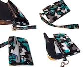 Butterfly Smart phone / iphone Wristlet Wallet - inButterfly Clusters / Black