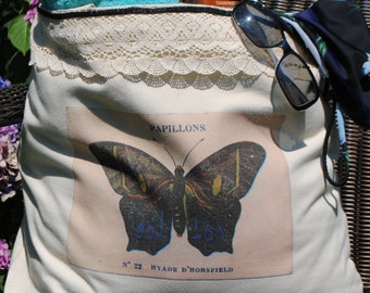 French Butterfly (Papillon) Canvas Tote