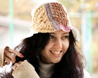 OOAK freeform fabric cloche, crocheting white and brown hat, texlile woman cap
