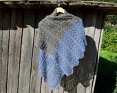 Knitting shawl, women, 2 colors gray and violet, wool