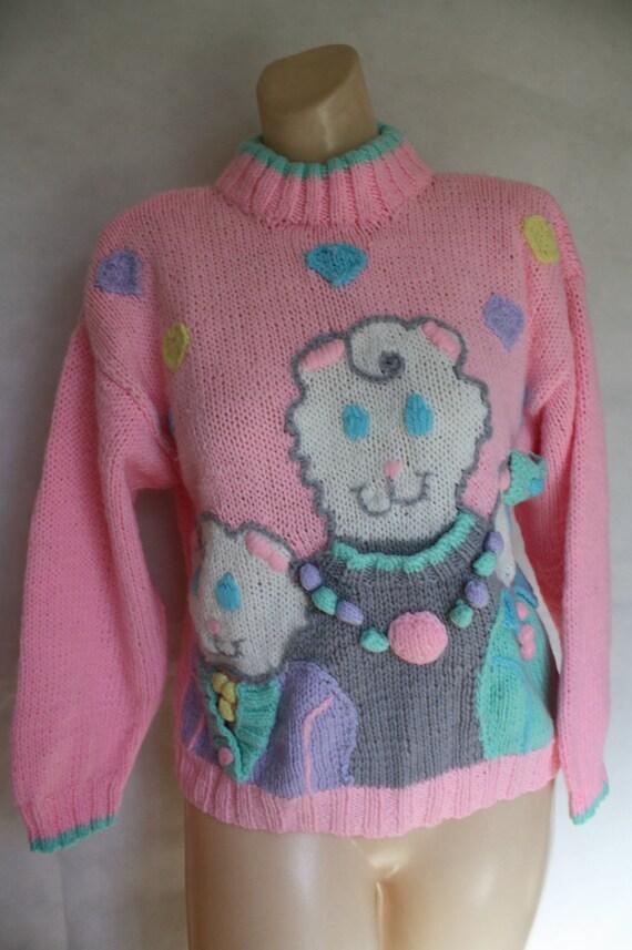 vintage BEFORE hello kitty pink kitties sweater S