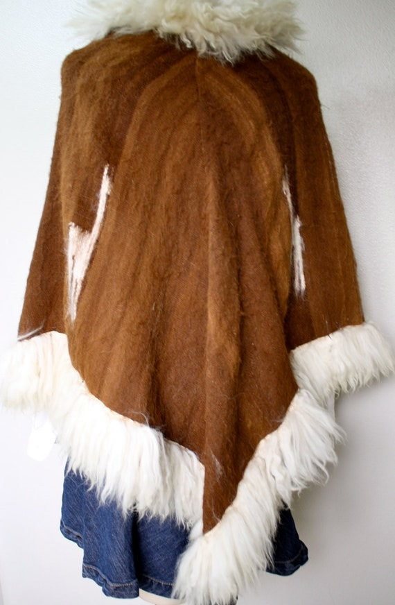 vintage 1970's authentic LLAMA wool hippie mod poncho