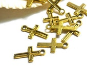 20 Antique Gold Cross Charms