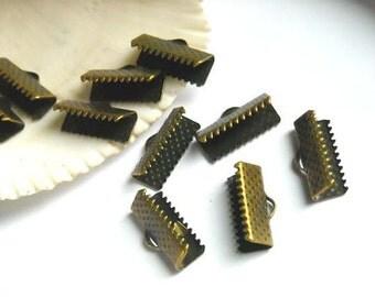 20 Antique Bronze Crimp Ribbon End Caps 16mm