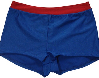 Red and  Blue  Spandex Dance Shorts.Great for Wonder Woman Costume