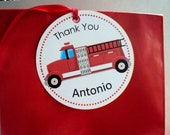 Fire Truck Favor Tag, Fire Engine  Favor Tag