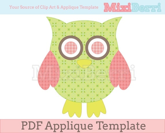 Owl Green And Pink Applique Template Pdf Instant Download