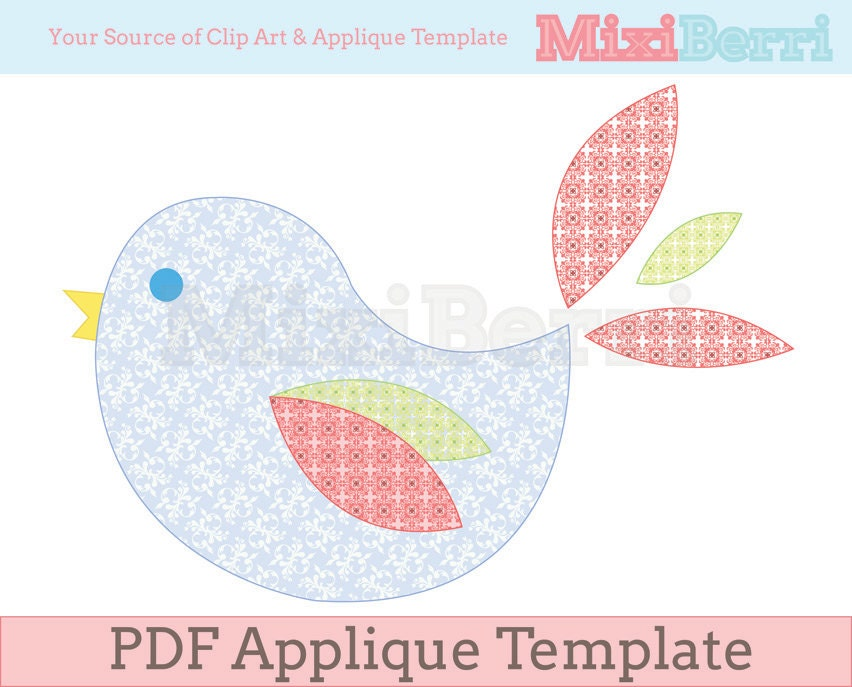 Lovely Bird Applique Template Pdf Instant Download