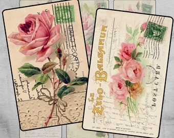 Printable Gift Tags - 2.5x4 inch - Digital Labels - Paper Craft - Paper goods - Digital Collage Sheet - Instant Download - ANTIQUE FLOWERS