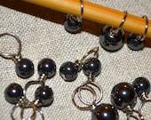 Schwarz faux Perle handgefertigte Stich Marker für stricken (Menge: 12)
