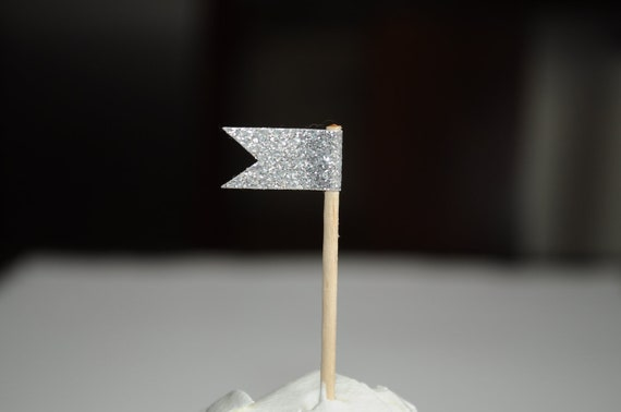 Silver Glitter Cupcake flag toppers - Party picks set of 12
