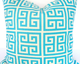 PILLOW Turquoise Throw Pillows Aqua Blue Pillow Covers Blue Throw Pillows 16x16 .Clearance. Greek Key Pillow Covers Home Decor .Sale.