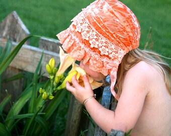 Silk velvet  bonnet-- baby bonnet, infant photo prop, vintage style bonnet, silk and lace bonnet, shower gift, photo, party, child sunbonnet